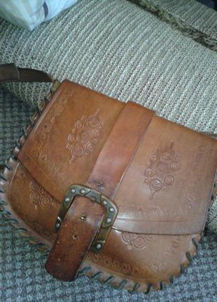 Кожаная сумка карман.етно стиль