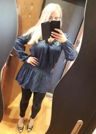 Джинсрвое платье туника с вышивкой 14 р