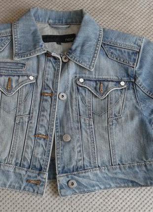 Next оболденная короткая джинсовая куртка с коротким рукавом