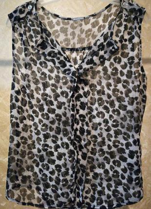 Тончайшая шифоновая блузка с погончиками xl