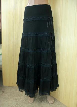 Чёрная длинная юбка тонкий хлопок  с кружевом с оборками