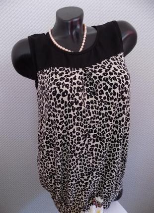 Вискозная блуза с шифоновыми вставочками