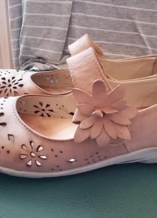 Замечательного качества немецкие туфли мокасины балетки натур. кожа 39 - 40