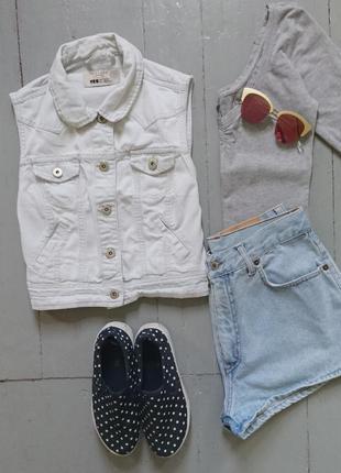 Укороченная джинсовая жилетка №17 new look