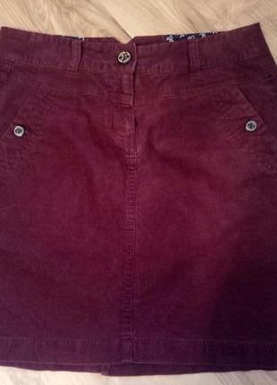 Бордовая вельветовая юбка tom tailor