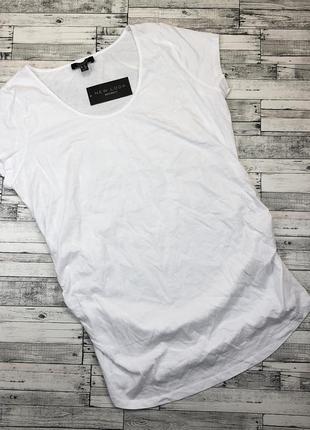 Белая трикотажная хлопковая удлиненная футболка для беременных, туника