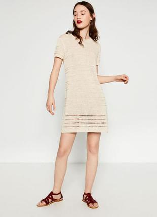 Эксклюзивное вязаное молочное платье zara ррм новое с биркой!