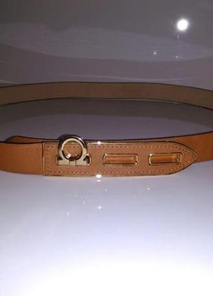 Коричневый рыжий кожаный ремень salvatore ferragamo