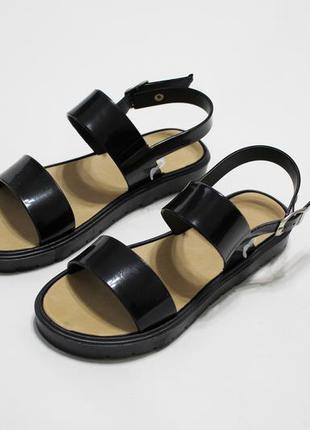 Женские черные силиконовые сандалии (босоножки)