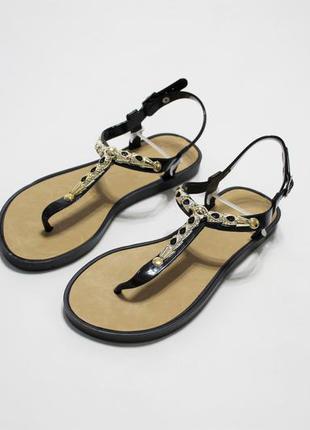 Женские черные силиконовые сандалии (вьетнамки, босоножки)