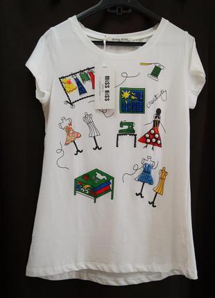 Милашная итальянская футболка в принт !!!!!!!!!!!!италия!!!!!!!!!!!