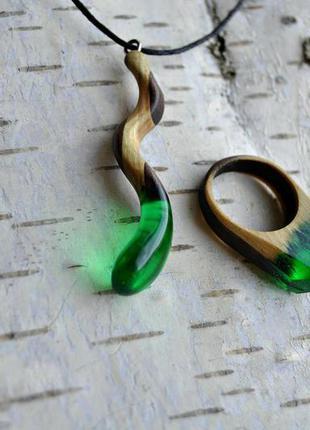 Комплект украшений: кулон и кольцо, ручная работа