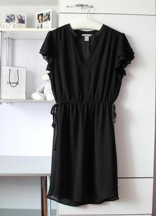Очень красивое черное шифоновое платье от h&m