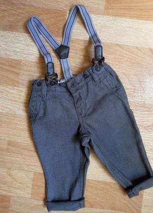 Брюки,  брючки, штаны, штанишки с подтяжкиами h&m на 4-6 мес