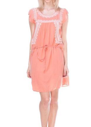 Легкий прогулочный оранжевый сарафан с белой вышивкой promod pp м(42),распродажа!