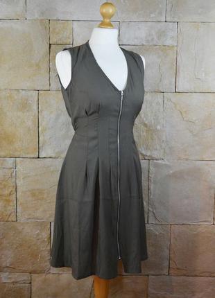 Акция 1+1=3! атласное платье хаки с молнией h&m