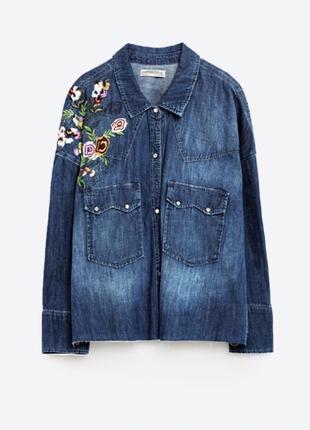 Крутая джинсовая рубашка с вышивкой