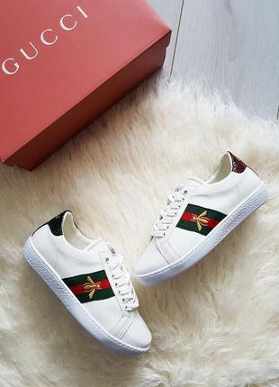 Новые gucci ace embroidered sneakers кроссовки гучи белые все размера 36-40