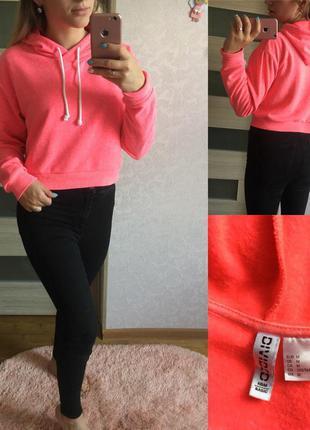 Яркий розовый свитшот с капюшоном h&m  размер: м