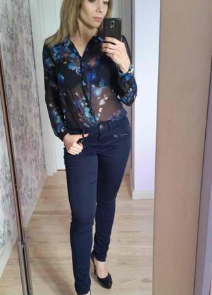 Рубашка шифоновая синяя floral