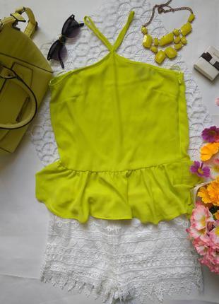 Лимонно жёлтый летний топ майка с баской