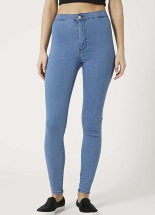 Голубые джинсы topshop джинси скинни скини skinny на высокой посадке талии штаны скіні