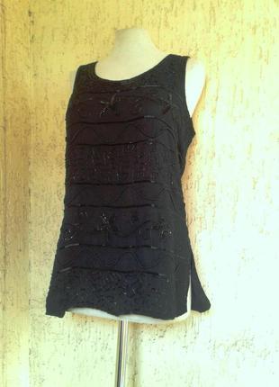 Черная маечка-блузочка обшитая бисером, xl