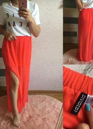 Коралловая шифоновая юбка в пол с разрезами h&m  размер: 40 (l)