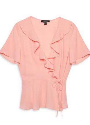 Нежная розовая блуза с завязками atmosphere primark, р.14, м-ка