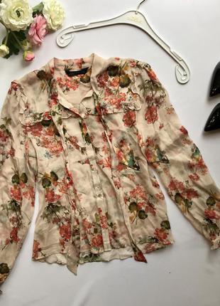 Модная блуза с рюшами и с бантом в цветочный принт zara