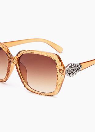Элегантные очки в рельефной благородной янтарной/нюдовой/бежевой оправе 100%-uv защита
