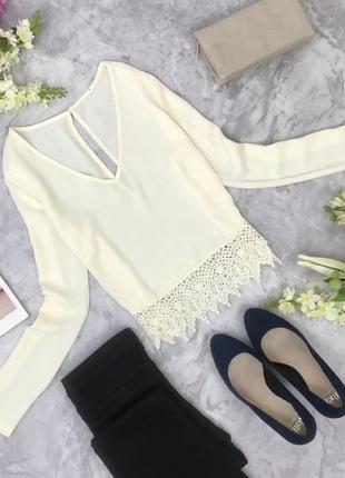 Блуза с v образным вырезом и кружевной отделкой  bl1817116