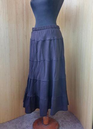 Шоколадно коричневая юбка с поясом резинкой тонкий хлопок m/l