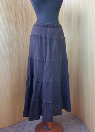 Шоколадно коричневая юбка с поясом резинкой тонкий хлопок m/l2 фото