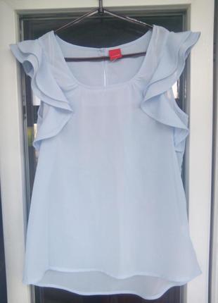 9d7b1bdd0ec Элегантная женская блуза голубая livre блузка без рукавов с воланами рюшами