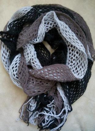 Ажурный вязанный шарф f&f