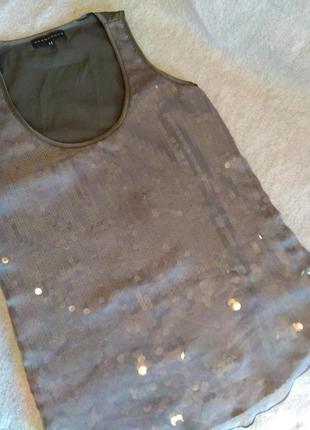 Нарядная майка блуза с пайетками