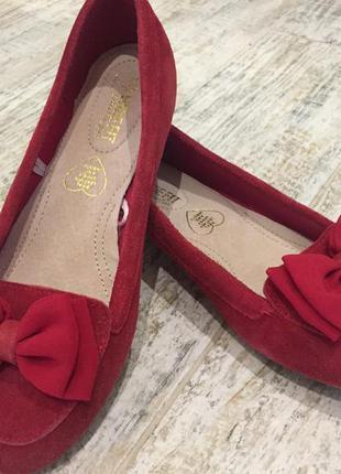 Туфли 👞 балетки красные с бантиком замш