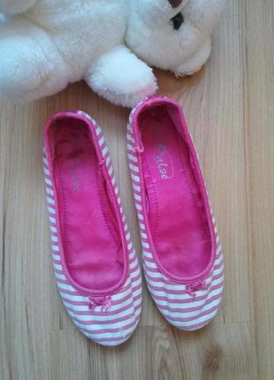 Текстильные балетки для девочки на не полную ножку, размер 33 (21 см).