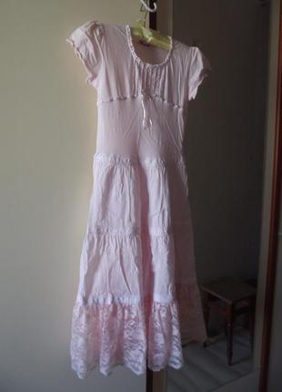 Скидка!фирменное платье  100% хлопковый трикотаж и кружева цвета зефир из антошки