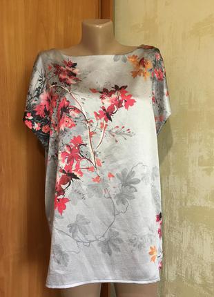 Комбинированная блуза ,атлас+трикотаж!