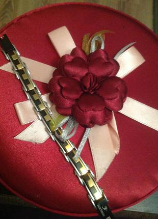 Шикарный брендовых браслет сталь эмаль вес 27 грамм