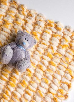 Плед легкий вязанный для малыша handmade подходит для коляски