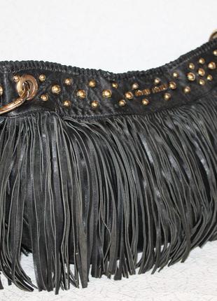 Трендовая кожаная сумка miumiu с бахромой/лапшой.оригинал