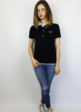 Дизайнерская polo поло футболка dolce & gabbana с двойным воротом  и вышивкой