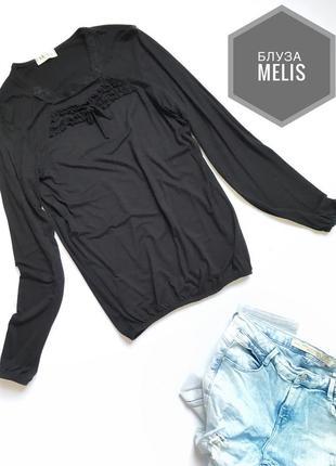 Базовая чёрная блузочка с резиной на манжете и поясе вискоза