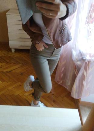 Брендовые джинсы скинни высокая талия укороченные тёмно зелёные болотные хаки коричневые