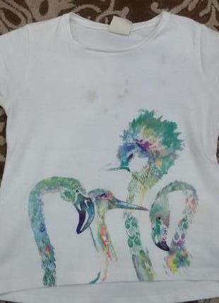 Детская красивая футболка zara зара на девочку 4-5 лет