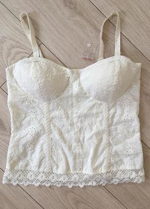 Блуза прошва топ с чашками батист вышивка
