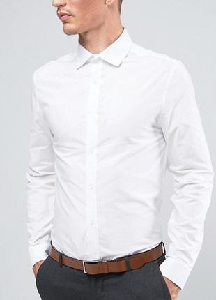 Белая рубашка классическая, river icland от asos, xl